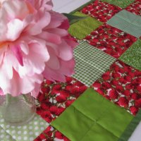 Day 11/365:  Quilted Berry Print and Green Blocks Patchwork Table Runner