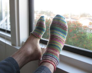 Sean's feet at 8:35 AM.  Only one of them is partially cold.