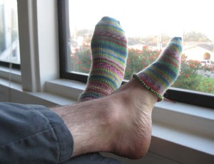 """Sean following my direction to cross his ankles and loosen his feet for a more """"casual"""" look."""