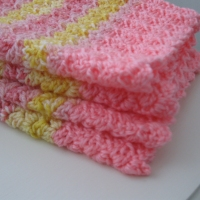 Day 76/365:  Crocheted Baby Blankie of Pink and Yellow Shells