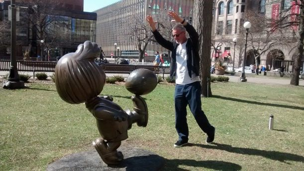 Sean blocking Peppermint Patty's kick.